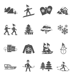 Winter black icons set vector