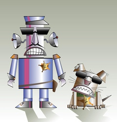 Robot and the dog vector