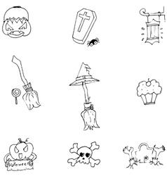 Object halloween doodle set vector
