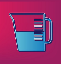 Beaker sign blue 3d printed icon on vector