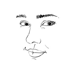 Black and white hand-drawn portrait of vector