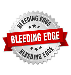 Bleeding edge round isolated silver badge vector