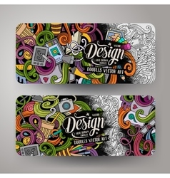 Cartoon doodles artistic banners vector image vector image