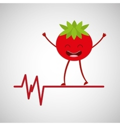 Character tomato healthy heartrate icon vector