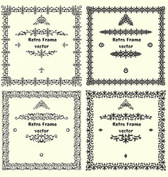 Collection of square vintage frames vector