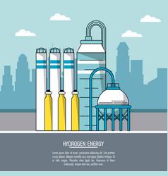 Color city landscape background hydrogen energy vector