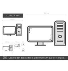 Computer line icon vector