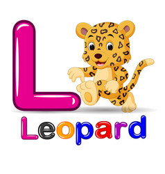 cute leopard and alphabet vector image vector image