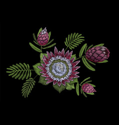 embroidery floral patch tropical protea blossom vector image vector image