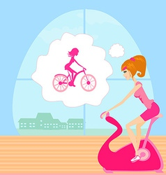 Girl on the exercise bikes vector image vector image