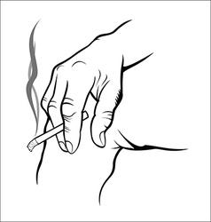 Hand holding cigarette vector