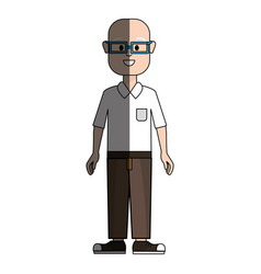 Happy man with glasses shirt and pants vector