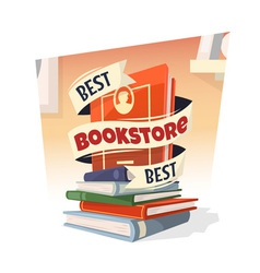 Heap of books with best bookstore text vector