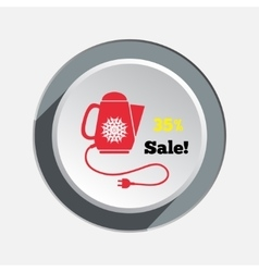 Home electric kettle christmas sale icon vector
