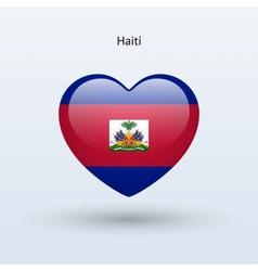 Love haiti symbol heart flag icon vector