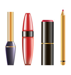 Makeup cosmetics in glossy bottles isolated vector