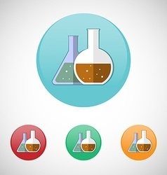 Medical mixtures in flasks icon set vector image