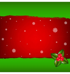 Merry Christmas Card With Holly Berry vector image vector image