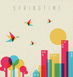 Spring time season tree forest and city vector
