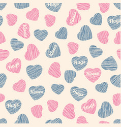 valentine day background seamless pattern hearts vector image