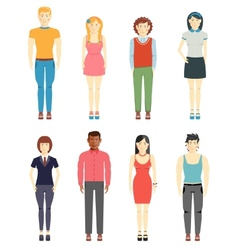 Young men and girls casual style vector image vector image