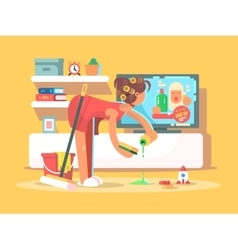 Housewife cleans house vector