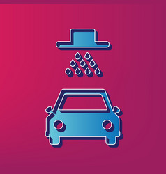 car wash sign  blue 3d printed icon on vector image