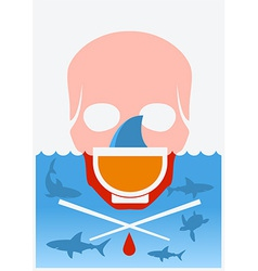 Stop shark finning soup color underwater poster vector