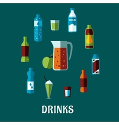 Flat non alcoholic beverage with caption drinks vector