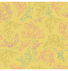 Seamless pattern with abstract flowers yellow vector
