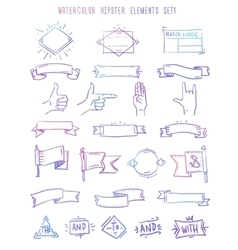Design elements set catchwords ribbons vector