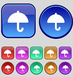 Umbrella icon sign a set of twelve vintage buttons vector
