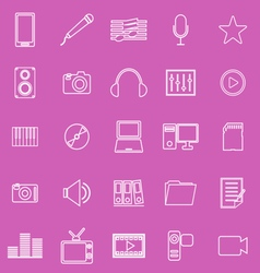 Media line iocns on pink background vector