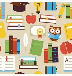 Flat Seamless Pattern Education Books and vector image