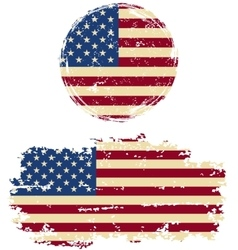 American round and square grunge flags vector
