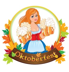 Oktoberfest girl with beer vector image