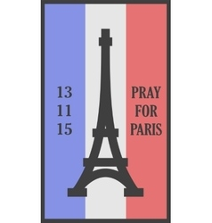 Pray for paris words card vector