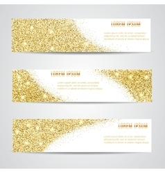 Horizontal gold banners set vector