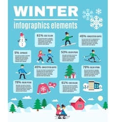 Winter season outdoor infographic elements poster vector