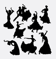 Flamenco traditional dance silhouette vector