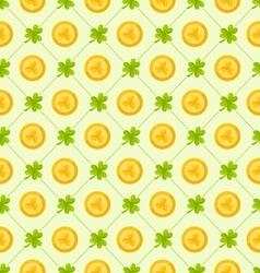 Seamless pattern with clovers and golden coins for vector