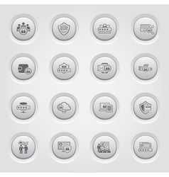 Button design protection and security icons set vector