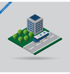Isometric city - bus on road building and trees vector