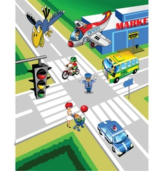 Town traffic vector