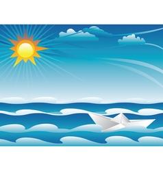 Paper boat in the sea vector