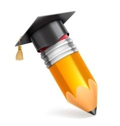 Pencil and graduation cap icon vector