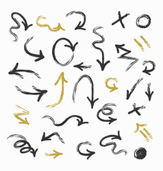 Black and golden hand drawn direction arrows set vector