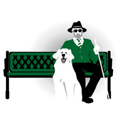 Blind pensioner with a dog old man vector