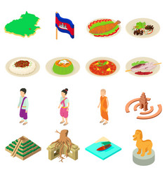 cambodia travel icons set isometric style vector image vector image