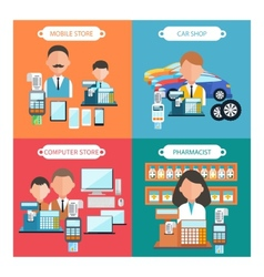 Car mobile pharmacist and computer store vector